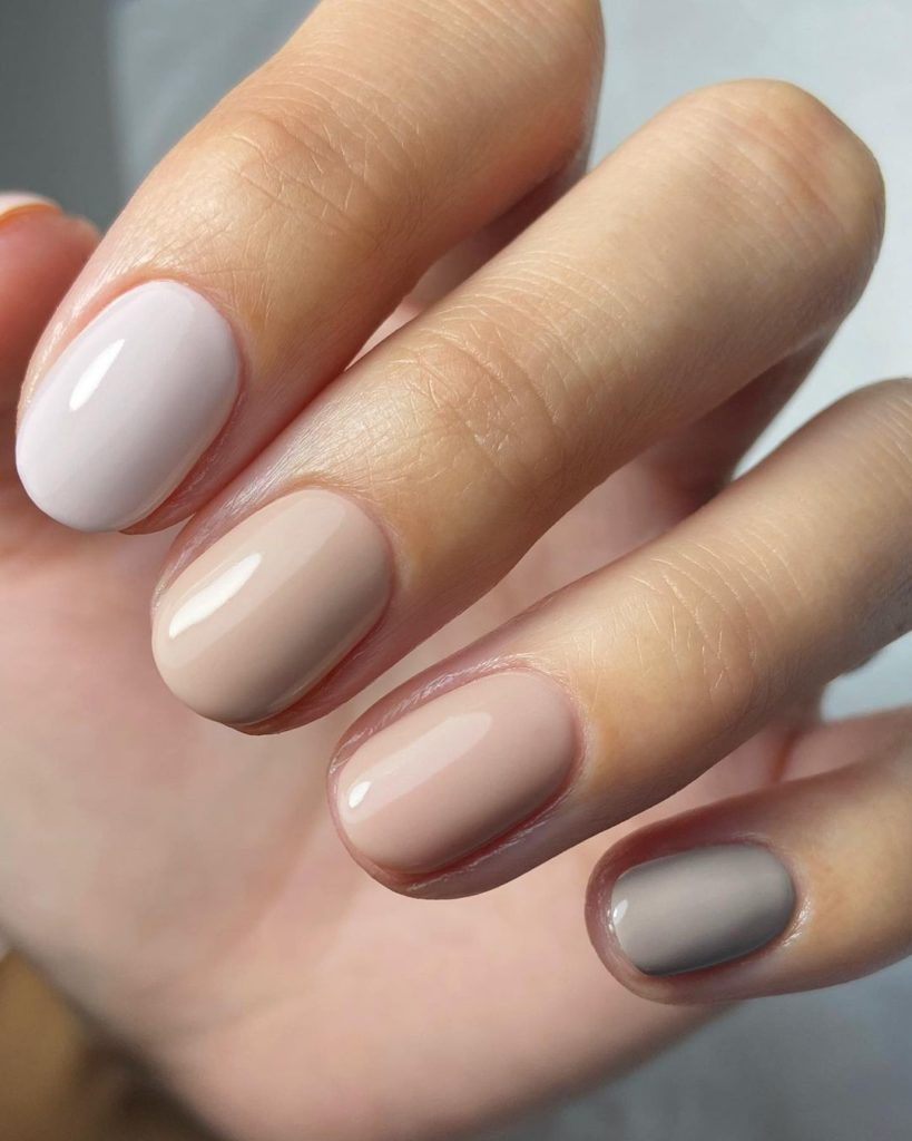 neutral color short nails with earth tones