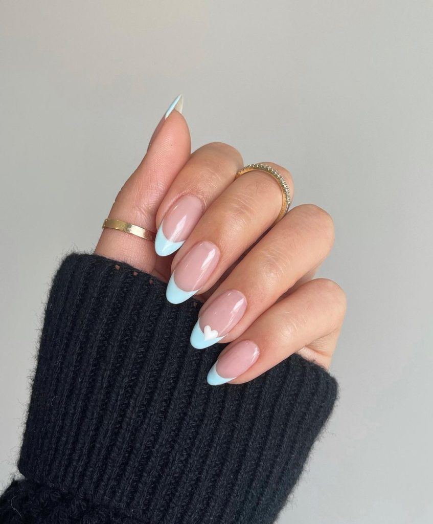 blue french mani on short nails with almond shape