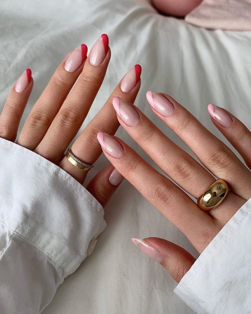 short nails with pink and red french mani on sidetips