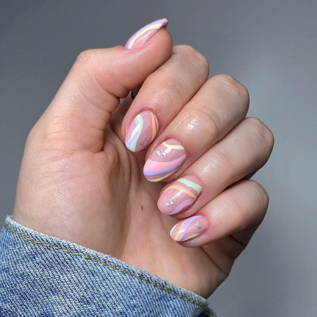 abstract nail art with paster tones for spring nails