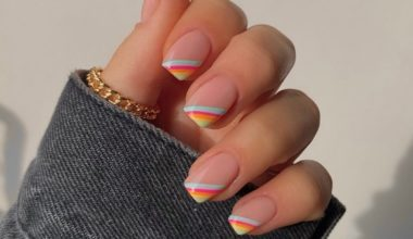 summer nail design with rainbow tips